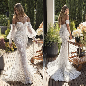 2021 3D Flower Mermaid Wedding Dresses Sexy Off Shoulder Long Sleeve Appliques Backless Sweep Train Bridal Gowns vestidos de novia