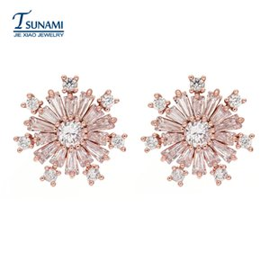Roseta de alta calidad de oro rosa Conveniente para maduros pendientes de joyería de moda femenina circón ER-146