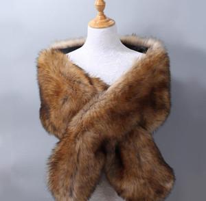 Women's ladies business Plush fur fox fur bridal evening dress dinner party Noblewoman Padded big shawl cloak scarf