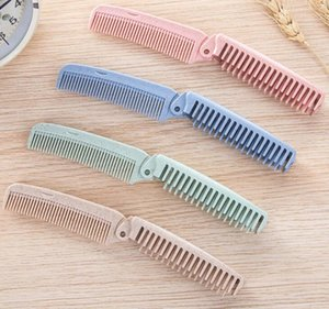 Portable Foldable Hair Comb Anti-static Hairbrush 4 Color Travel Hair Brush Wheat straw Folding Hairdressing Styling Tool #M8139