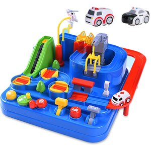 Racing Rail Car Model Racing Educational Toys Children Track Car Adventure Game Brain Game Mechanical Interactive Train Toy 210128