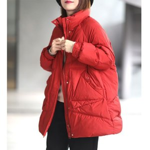 Fashionable red warm white down jacket for women in winter 2020