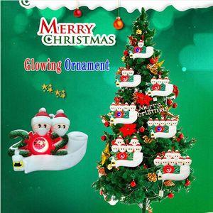 شخصية عيد الميلاد متوهجة زخرفة DIY اسم نجا شجرة العائلة عيد الميلاد الشنق حزب قلادة هدية ديكور المنزل DDA665