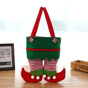 New Christmas Santa Pant Bag Candy Gift Bag Christmas Wine Bottle Cover Xmas Gift Bag Trouser Candy Bags Christmas Party Decoration HH9-3368