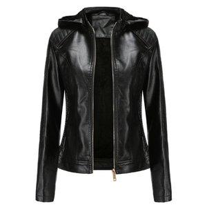 Куртка женщины кожи молния Hoodie мотоцикл зима куртка Femme Моду черного Streetwear Плюс Размер пальто # YJ2