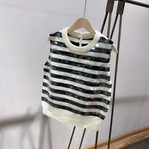 Free Shipping 2020 balck white striped Sequins Sleeveless Women's Sweaters Brand Same Style Pullover sweater Women 081611