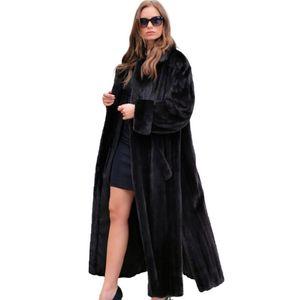 TOPFUR Natur Wirkliche lange Mantel-Turn-Down-Kragen realer Pelz-Mantel für Frauen neue Art und Weise Oberbekleidung Long Black Kleidung