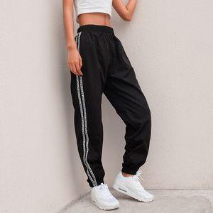 Designer Fashion Side Stripe Letter Pants Women Summer High Waist Pencil Streetwear Cargo Jogger Harajuku Sweatpants