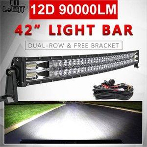 """CO LIGHT 12D 42"""" Led Light Bar 90000LM Work Spot Flood Beam Led bar 2-Rows for Driving 4x4 Truck ATV Car Offroad 12V 24V"""