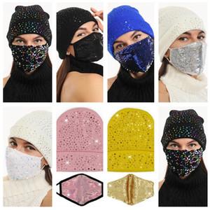Lantejoulas de cristal diamante máscara e beanie 2 pçs / conjuntos glitter shinny knit tampão crochê chapéus com máscara facial mascaras máscara protetores de ouvido tampões E122809