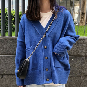 PEONFLY Korean Style Coat Solid Color Knitted Cardigan Pink Blue Loose Autumn 2020 Femme Single Breasted Sweater Y200910