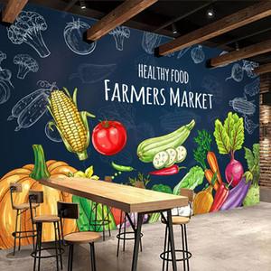 Custom 3D Photo Wallpaper Creative Hand Painted Healthy Food Fruit Vegetables Mural Supermarket Shop Restaurant Wall Decor