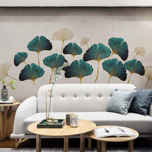 Creative Green Ginkgo Leaf Wall Stickers for Bedroom Warm Wallpaper for Living Room Background DIY Decal Art Wall Decoration