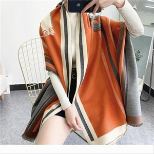 Designer Luxury Winter 2020 New Carriage Scarf Warm Shawl Thicken Tassels Horse Fashion Cashmere Poncho Cape Wom