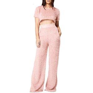 Couleur Femmes Survêtements Ensemble à manches courtes solide Toison Fluffy Tops Crop évasé Lounge long costume pantalon Soft Wear exercice Vêtements