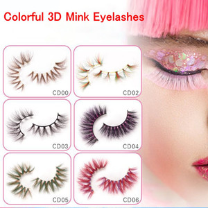 Colorful 3D visone cigli di trucco degli occhi Spesso Lashes incrocio naturale cigli falsi lunghi di esposizione della fase ciglio falso con confezione box CPA2625