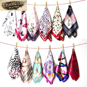 50*50CM Ladies Scarves Four Seasons Available Women s Professional Small Squares Silk Scarf headband kerchief 360 styles 2021