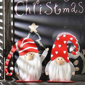 Christmas Decoration wooden Long Curved Hat Ornaments For Elderly Desktop Decorations Xmas New Year Ornaments HH9-3342