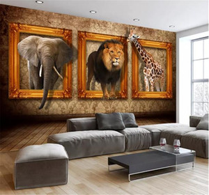 Custom Photo 3d Wallpaper 3D Stereoscopic European Animal Photo Frame Creative Mural TV Background Wall Decoration Mural Wallpaper
