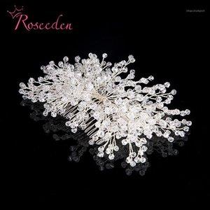 Roseden handgemachte silberne Farbe Strass Braut Stirnband Haarnadel Hochzeit Haar Ornament Zubehör Kristall Haar Kamm RE7101
