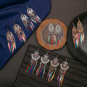Nueva moda vintage étnica pluma cuelga pendientes bohemia arco iris colores semillas bead personalizado borla pendiente mujer joyería regalos 116 g2