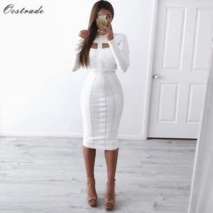 Ocstrade Women White Bandage Dress Bodycon New Arrivals Sexy Cut Out High Neck Long Sleeve Party Rayon Bandage Midi Dress 201023