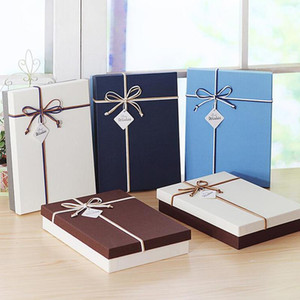 Simple Solid Color Gift Box Color Alternate With Double Bow Tie New Year Party Wedding Shirt Wallet Hat Wholesale Paper Gift Box