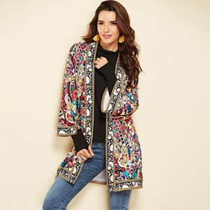 Ethnic Floral Print Jacket Women Autumn Winter Long Sleeve Side Split Casual Outerwear Ladies Retro Long Cardigan Jacket 200930