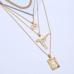 Multilayer Necklaces For Women Gun Cross Pendant Necklace Color Gold Silver Long Link Chain Choker Necklace
