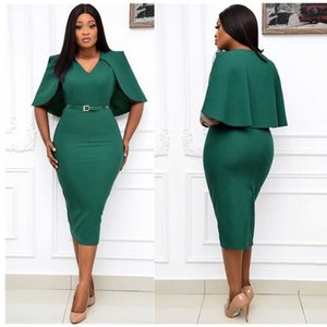 Women Bodycon Cape Sleeve Dresses Package Hip Solid Event Party Dress Fashion Office Ladies 2021 Spring Summer African Clothes