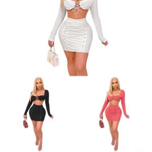 DQW TIE TRUNES TÉLÉCHAUX FEMMES SEXYS Robes Robes Pie Exposée Navel Skinny Femmes Deux Casual Sexy Hi Lo Black Sets Bandage