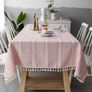Hollow Pink Embroidered Jacquard Striped Rectangle Cloth Christmas Tablecloth Cotton Linen Dining Table Cover XQ80
