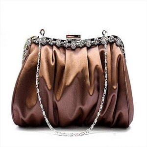 brand Women Evening Party shoulder bags Silk Diamonds Female handbags Socitlate Pleated wedding bridal handbag WY63