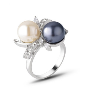 10 Pcs Trendy Silver Plated Geometric Shape Pearl Finger Ring for Party Gift with Crystal Jewelry