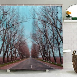 Road Stretches Into The Distance Landscape Shower Curtains Waterproof Cloth Bath Curtain Tree Screen Print Curtain for Bathroom C1030
