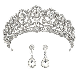 Wedding Crown Bridal Tiaras with Earrings Princess Crown for Women Bride Headband Head piece Hair Jewelry hair ornaments diadem Y200409