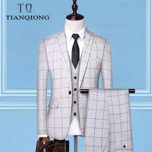 (Jackets Vest + Pants)2019 Men's Groom Wedding Dress Plaid Formal Suits Set Men Fashion Casual Business Suit Three-piece C1007
