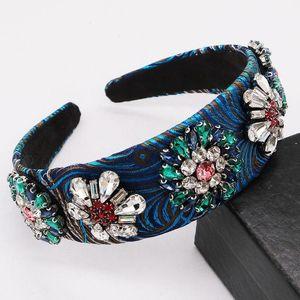 Vintage Baroque Blue Blue Bandand Strass Crystal Flower Queen Grown Tiara Wide Hairband Capel Accessori per capelli Gioielli per capelli da sposa1