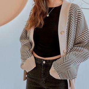 Flectit Casual Knitted Oversize Pulsante anteriore Contrasto Stripe Cardigan Autunno Winter Donne Maglione Feminino Tops * Y200910