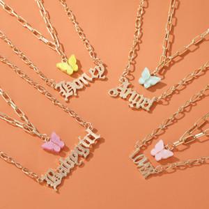 Acryl Schmetterlingsschicht Halskette für Mädchen Dame Gold Link Kette Halsketten Brief Babygirl Angel Anhänger Anfang Halskette Schmuck
