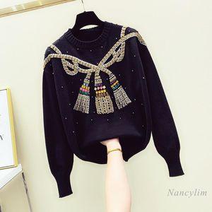 Miçangas diamante suéter mulher mulher outerwear solto pulôver suéteres fêmea casual knitwear branco preto pull femme nancylim
