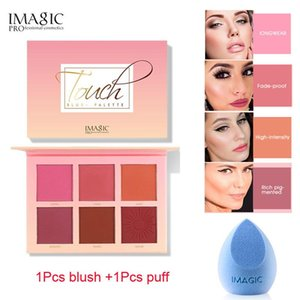 IMAGIC 2Pcs=1Pcs 6 Colors Blush Makeup Red disk Professional Cheek Blush High Quality Beauty New Fashion Cosmeti + 1Pcs puff