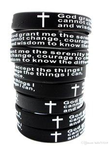 Lotes Jóias Oração 100pcs Inspirado Inglês Serenity Silicone Pulseiras Christian Men Cruz Moda Pulseiras Atacado Deus Serenity