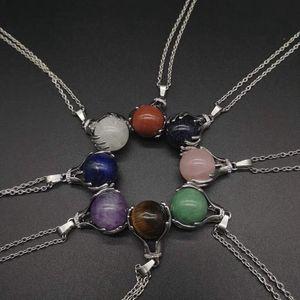 Charms naturelle Gem Bouddha en pierre à la main Perles Colliers Pendentif boule Lapis Lazuli Cristal Quartz Femmes Hommes Yoga Grimoires