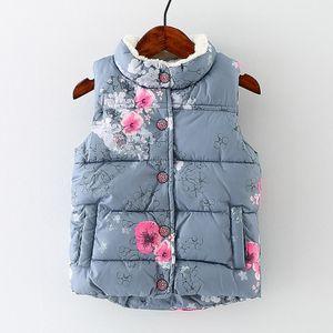 Hiver enfants Gilet pour les filles Veste sans manches fille Gilets Fourrure Bas enfants Vêtements de bébé épais vêtement de coton Floral Waistcoat