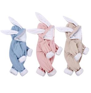 Kış bebek Çocuk giyim Romper Uzun Kollu Tavşan Kulak bebek Kadife Boy Kız Fermuar Romper% 100 pamuk Kış Çocuk giysileri Isınma
