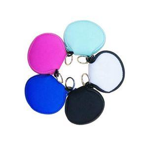 Néoprène Petit Porte-Monnaie Mode Porte-écouteurs Sacs multi fonctions sac de rangement Earphone Impression Zipper Purse solide Coin Pouch DHE2372