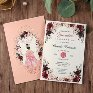 1pcs Pink Navy Blue Gold Burgundy Vertical laser cut Universal Engagement Anniversary party wedding invitation