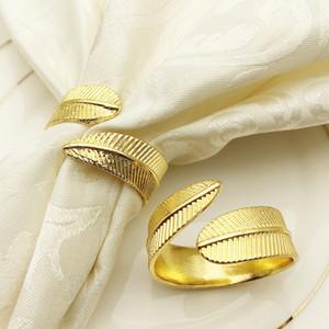 Serviette Ring Goldenes Blatt Neue Stil Matte Handtuch Reifen Swing Table Kreative Tisch Serviette Kreis Notenhotel Artikel 3 8HW P1