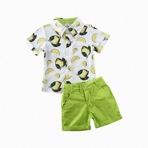 1-6Years 2020 Toddler Kids Baby Boys Lemon print Tops T-shirt Shorts Pants Party Formal 2pcs Gentleman Boys Casual Clothes Set Roya#